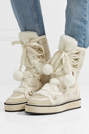 Nicholas Kirkwood Kira leather, suede and faux shearling-trimmed tweed snow boots