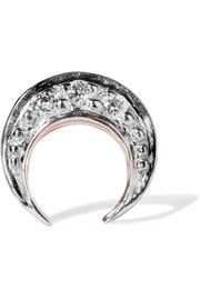 Crescent Moon 14-karat rose gold diamond earring