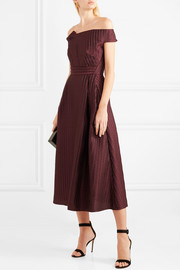 Roland Mouret Bentham off-the-shoulder metallic plissé-organza midi dress