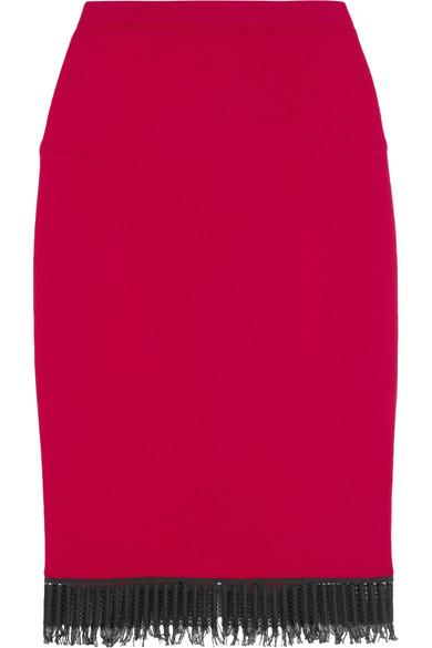 Roland Mouret - Sitona Fringed Wool-crepe Skirt - Red