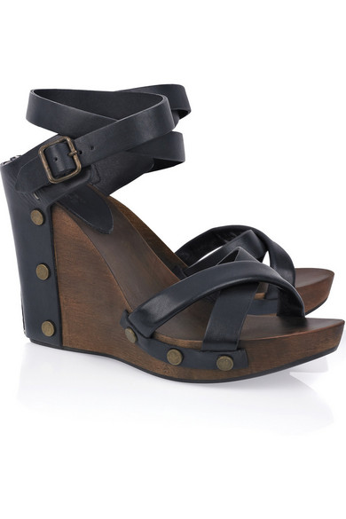 d737d700de1 See By Chloé. Leather and wood wedge sandals