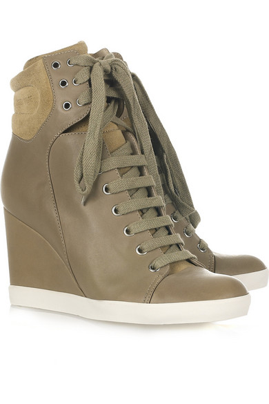 Lace up leather and suede wedge ankle boots