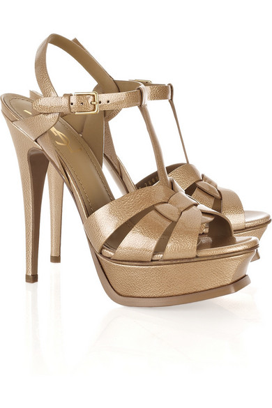 dc6c7aba991 Yves Saint Laurent | Tribute patent-leather sandals | NET-A-PORTER.COM