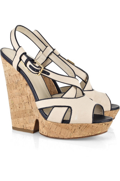 Yves Saint Laurent. Deauville canvas wedge sandals fa1feca22b