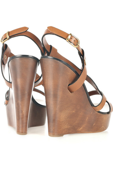 1053b2b4300110 Chloé. Multi-strap leather wooden wedge sandals.  345. Zoom In