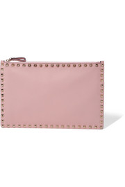 Rockstud textured-leather pouch