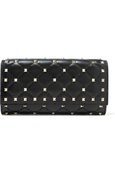 Valentino Garavani The Rockstud Spike Quilted Leather Wallet, Black