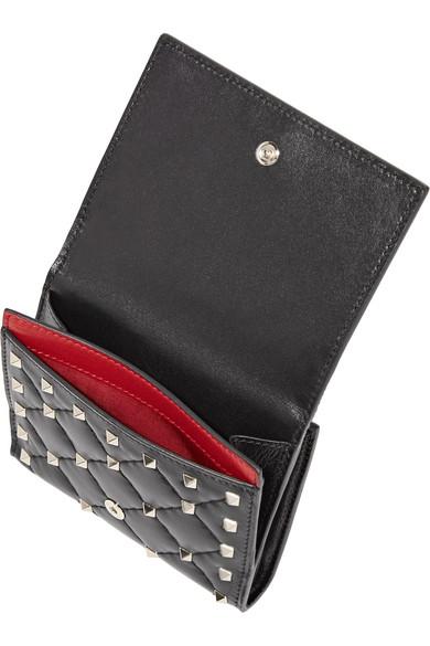 Valentino Rockstud Spike Portemonnaie aus gestepptem Leder