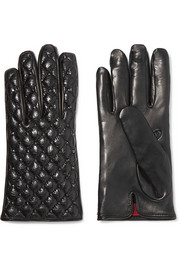 Valentino Studded quilted smooth and glossed textured-leather gloves