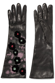 Valentino Appliquéd embellished leather gloves