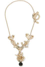 Valentino Hammered gold-tone necklace