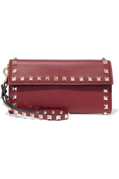 Valentino Garavani The Rockstud Leather Wallet, Burgundy