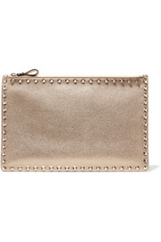 Valentino Rockstud metallic leather pouch