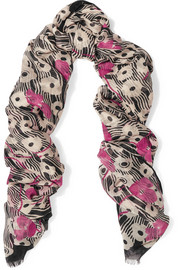 Valentino Floral-print modal and cashmere-blend scarf
