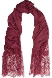Valentino Lace-paneled modal and cashmere-blend scarf