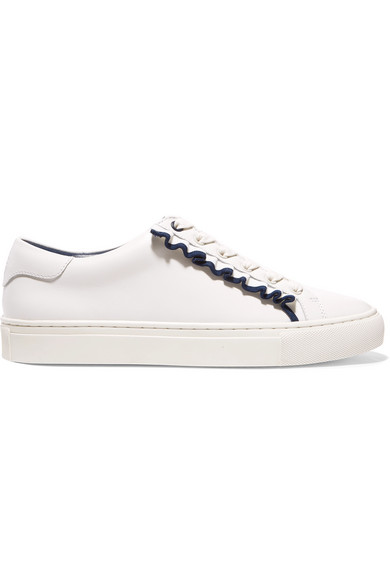 Tory Sport - Ruffled Leather Sneakers - White