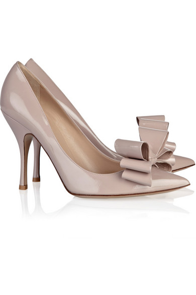 bd993021cdd Valentino. Bow-embellished patent-leather pumps