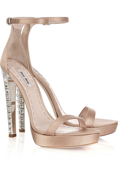 991560e063e8 Miu Miu. Crystal-heel satin sandals