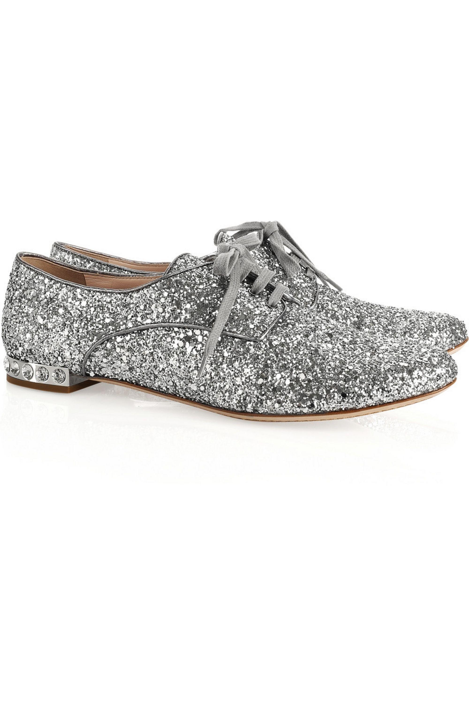 Miu Miu Crystal-embellished glitter-finish brogues