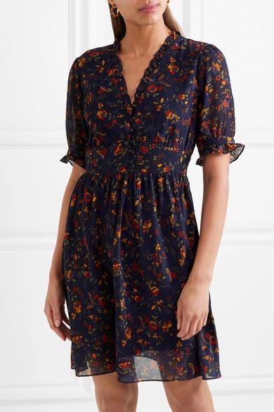 Madewell Fresia Kleid aus bedrucktem Chiffon mit Rüschen