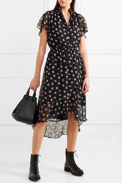 2018 Neue Madewell Amaryllis bedrucktes Kleid aus Chiffon Verkauf Austrittsstellen Marktfähig E4nVM