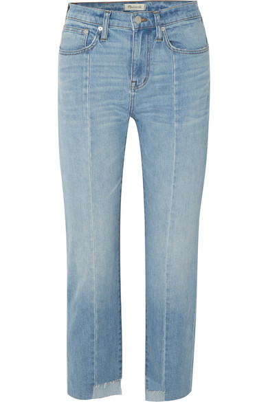 The Perfect Summer Cropped High-Rise Straight-Leg Jeans, Light Denim