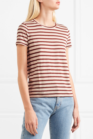 Madewell T-Shirt aus gestreiftem Jersey mit Metallic-Effekt