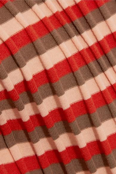 Madewell Gestreiftes Rollkragenoberteil aus geripptem Jersey aus Stretch-Baumwolle