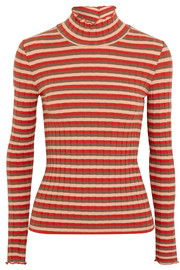 Madewell Ribbed striped stretch-cotton jersey turtleneck top