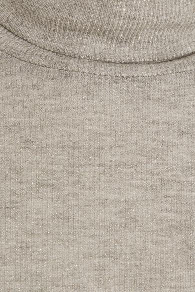 Madewell Rollkragenpullover aus Rippstrick mit Metallic-Effekt