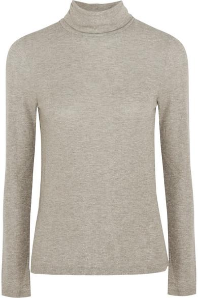Madewell - Metallic Ribbed-knit Turtleneck Sweater - Gray