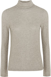 Madewell Metallic ribbed-knit turtleneck sweater