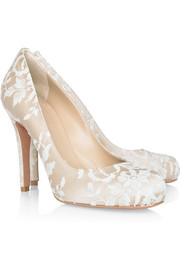 Lace-covered satin pumps