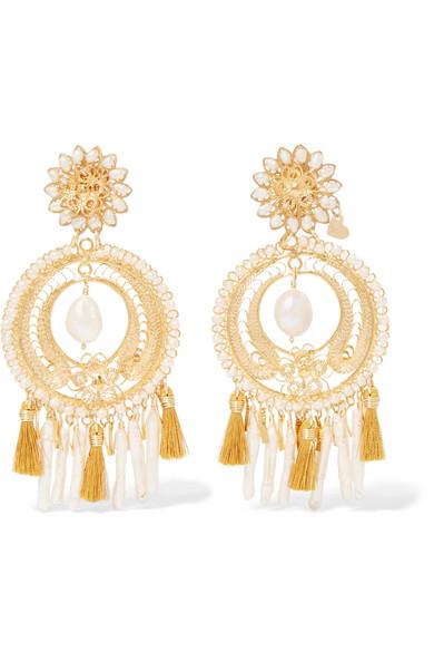 Fiesta Tasseled Gold-plated Pearl Clip Earrings - one size Mercedes Salazar UueVX