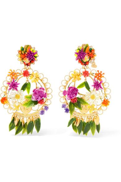 Fiesta Piñas Tasseled Gold-plated, Resin And Crystal Clip Earrings - Orange Mercedes Salazar