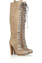 Reed Krakoff Python knee-high boots