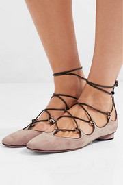 Valentino Leather-trimmed suede ballet flats