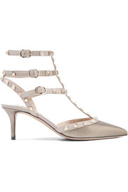 Rockstud metallic textured-leather pumps