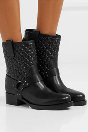 Rockstud Spike quilted leather biker boots