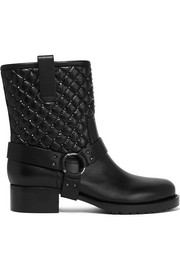 Valentino Rockstud Spike quilted leather biker boots