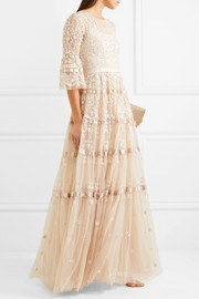Needle & Thread Roses embellished satin-trimmed tulle gown