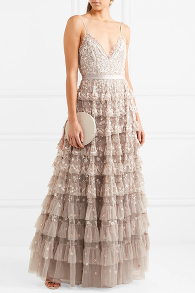 Marie Tiered Embellished Tulle Gown - UK14 Needle & Thread Best Wholesale Cheap Price Amazon Cheap Online Cheap Clearance Best Wholesale Cheap Online Cheap Brand New Unisex HJfgiz