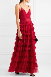 Needle & Thread Marie tiered embellished tulle gown