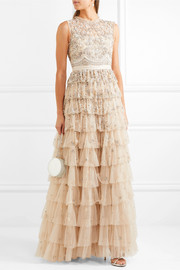 Needle & Thread Pearlescent tiered embellished tulle gown