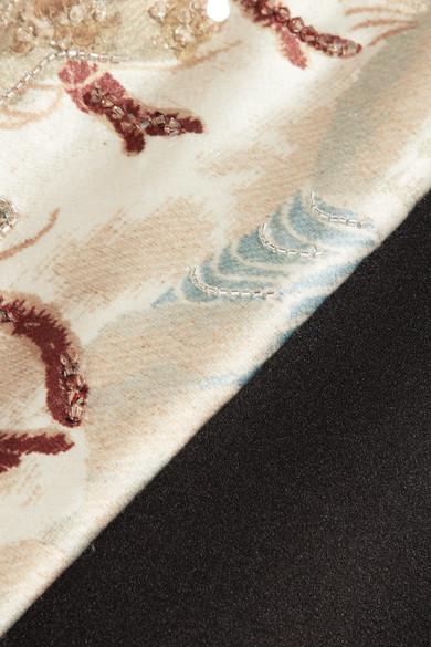 Giorgio Armani Schulterfreie Robe aus Satin aus einer Seidenmischung mit Verzierungen