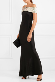 Giorgio Armani Embellished off-the-shoulder silk-blend satin gown