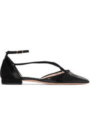Suede-trimmed python point-toe flats