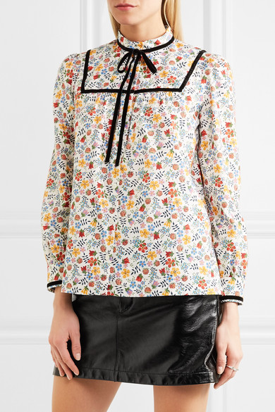 A.P.C. Atelier de Production et de Création Abott Bluse aus floral bedrucktem Baumwoll-Twill mit Samtbesatz