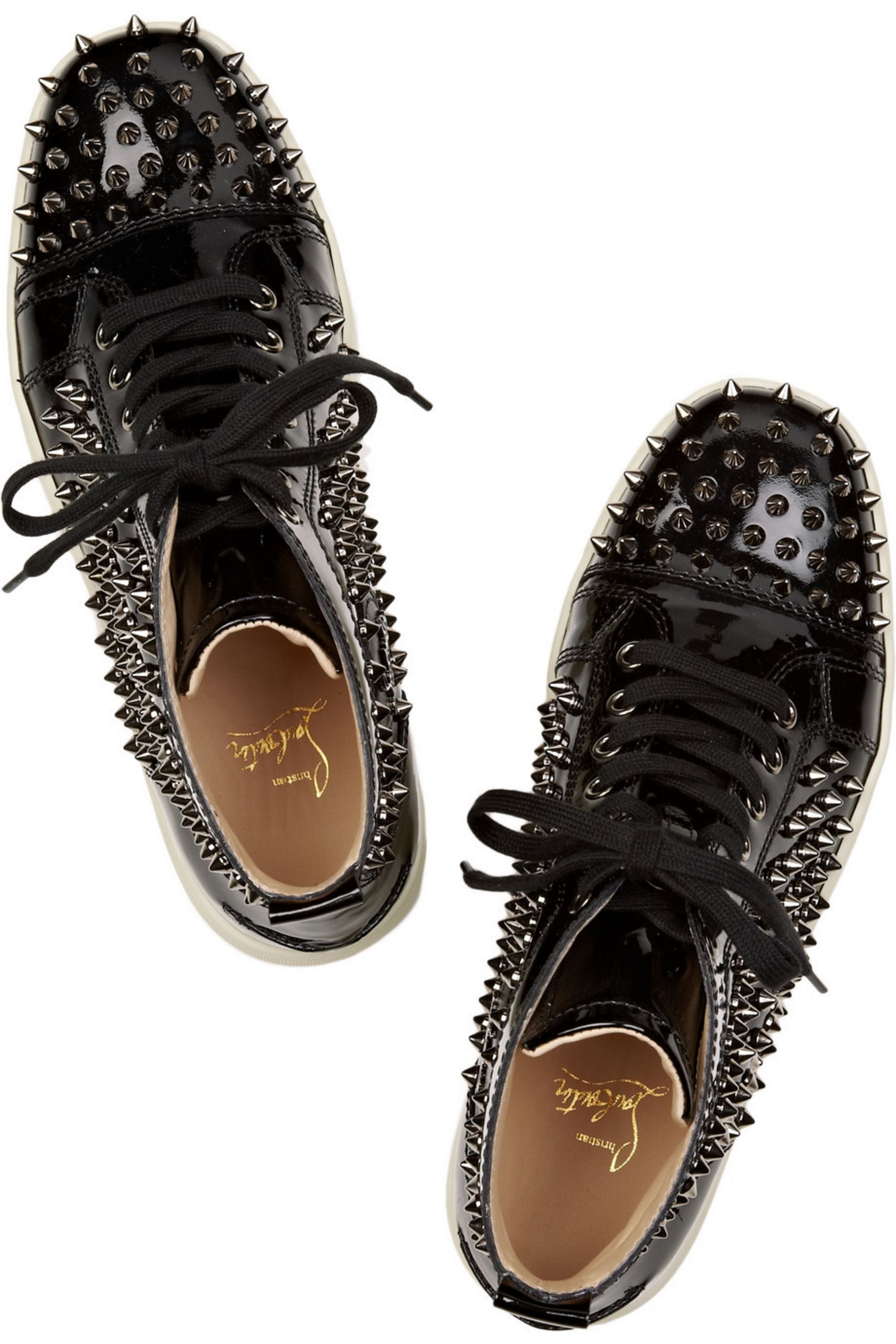 Christian Louboutin Louis studded patent-leather sneakers