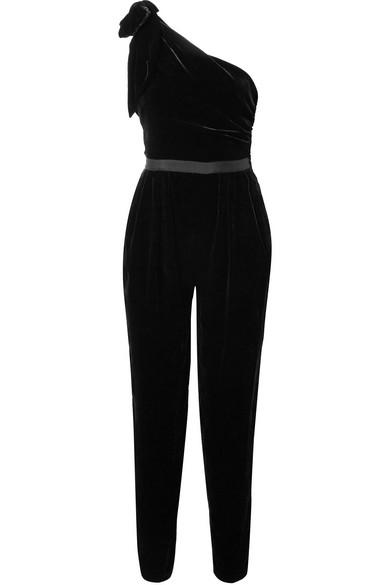 Ulla Johnson Tess Jumpsuit aus Samt mit asymmetrischer Schulterpartie